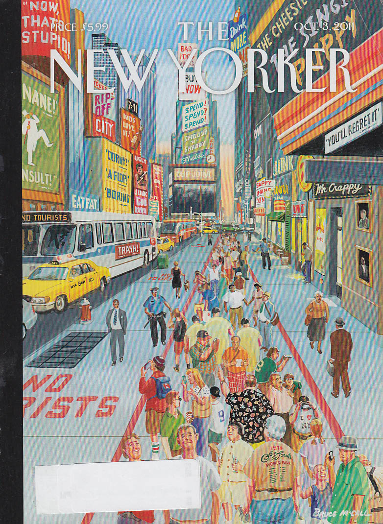 New Yorker cover 10/3 2011 McCall: all signs discourage tourists in own lane