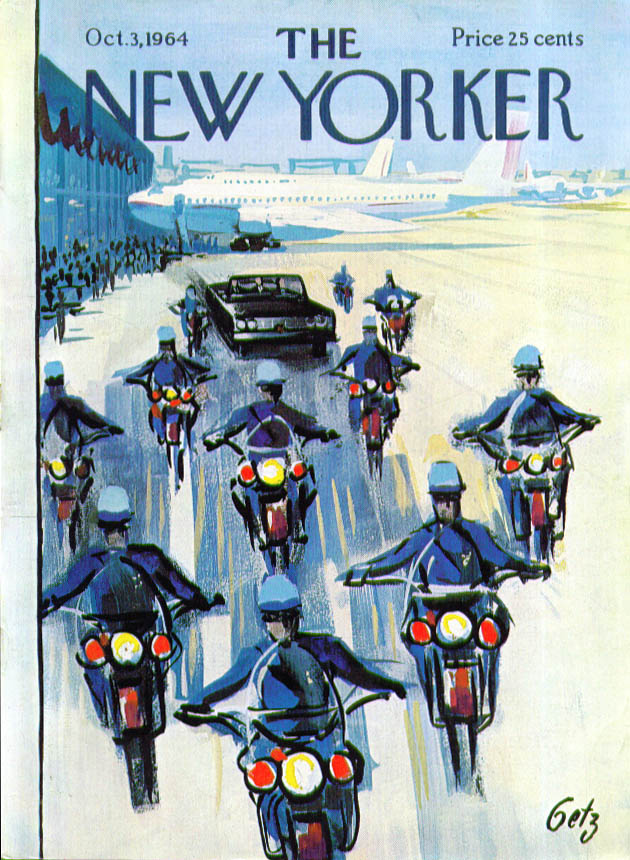 Image for New Yorker cover Getz police escort 10/3 1964