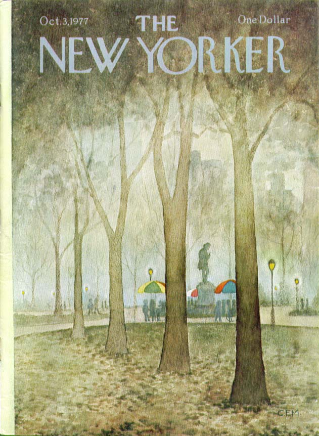 New Yorker cover Charles E Martin Central Park 10/3 1977