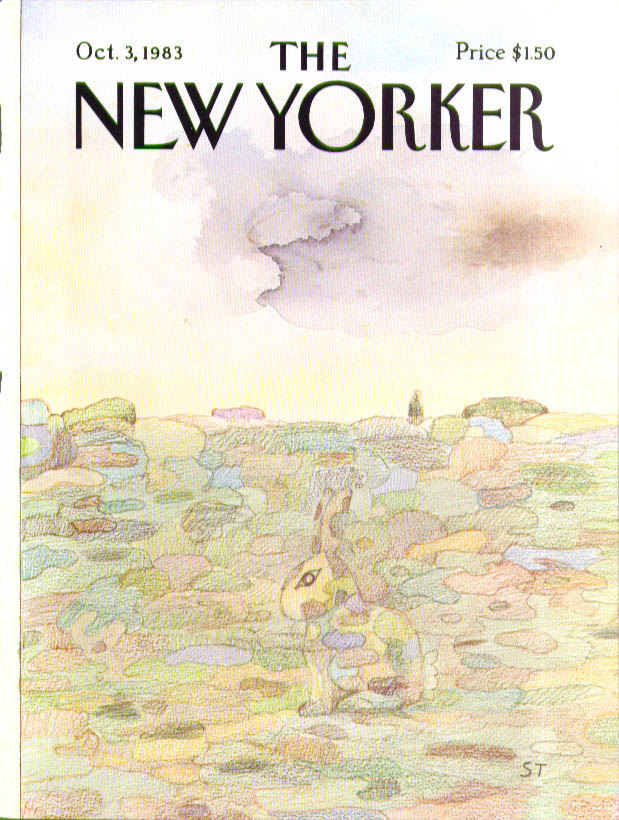 New Yorker cover Steinberg camouflaged rabbit 10/3 1983