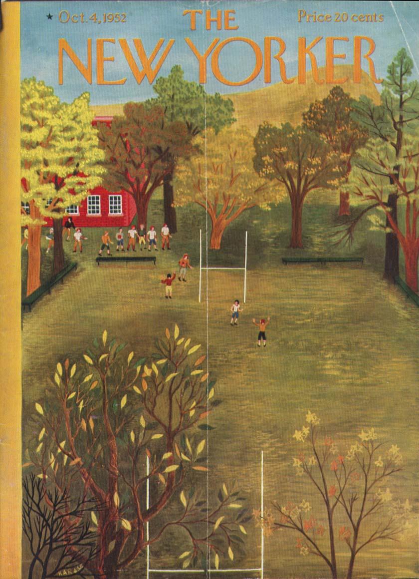 New Yorker cover Karasz school football 10/4 1952
