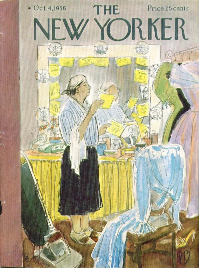 New Yorker cover Barlow cleaning lady reads 10/4 1958