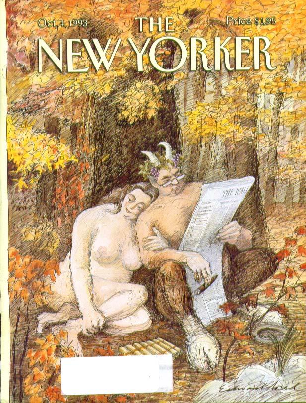 New Yorker cover Sorel Satyr & Gal read WSJ 10/4 1993
