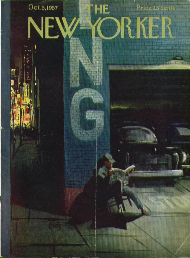 Image for New Yorker cover Getz parking garage at night 10/5 1957