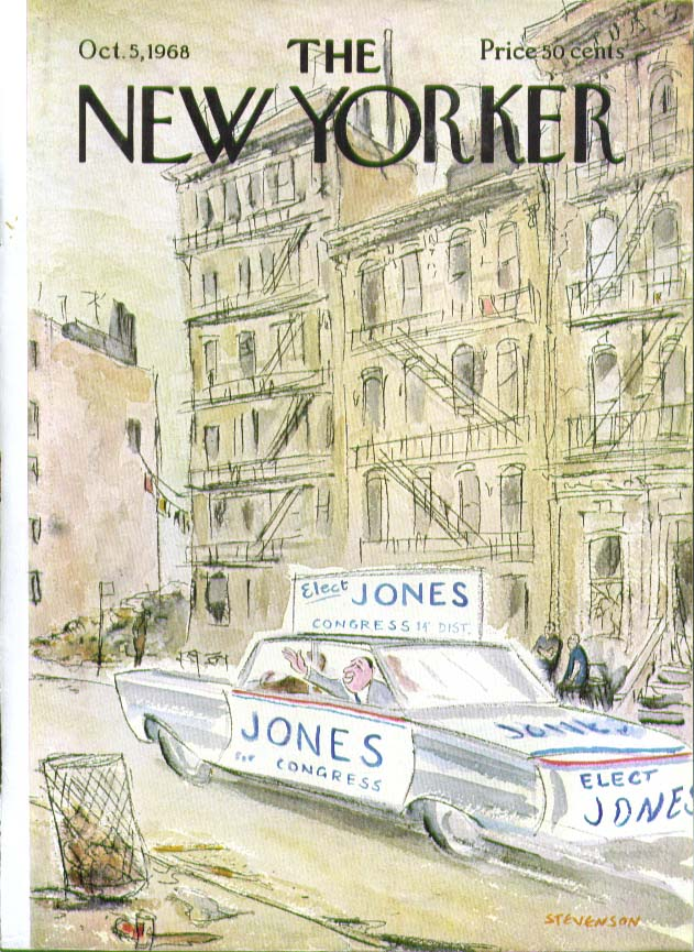 New Yorker cover Stevenson Jones for Congress speeds through ghetto 10/5 1968