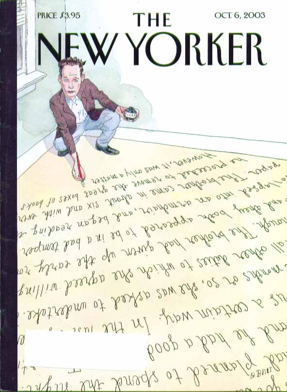 New Yorker cover Barry Blitt author writes himself into corner 10/6 2003