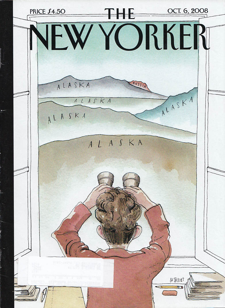New Yorker cover Blitt Sarah Palin Russia from My House 10/6 2008