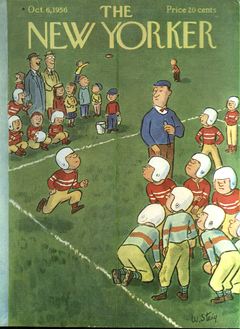 New Yorker cover Steig sub trots to midget football huddle 10/6 1956