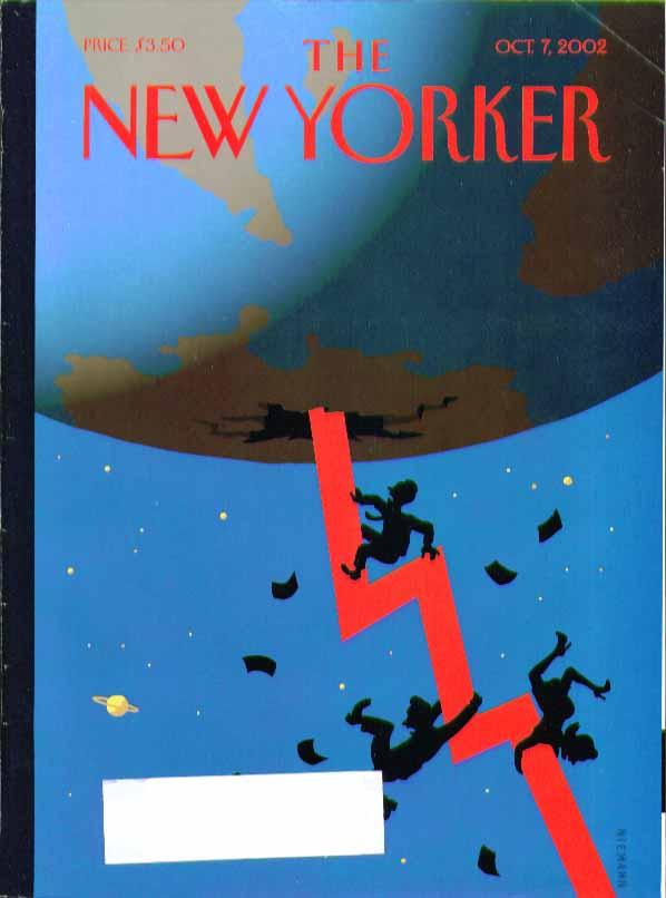 New Yorker cover Christoph Niemann financial decline cracks thru Earth 10/7 2002