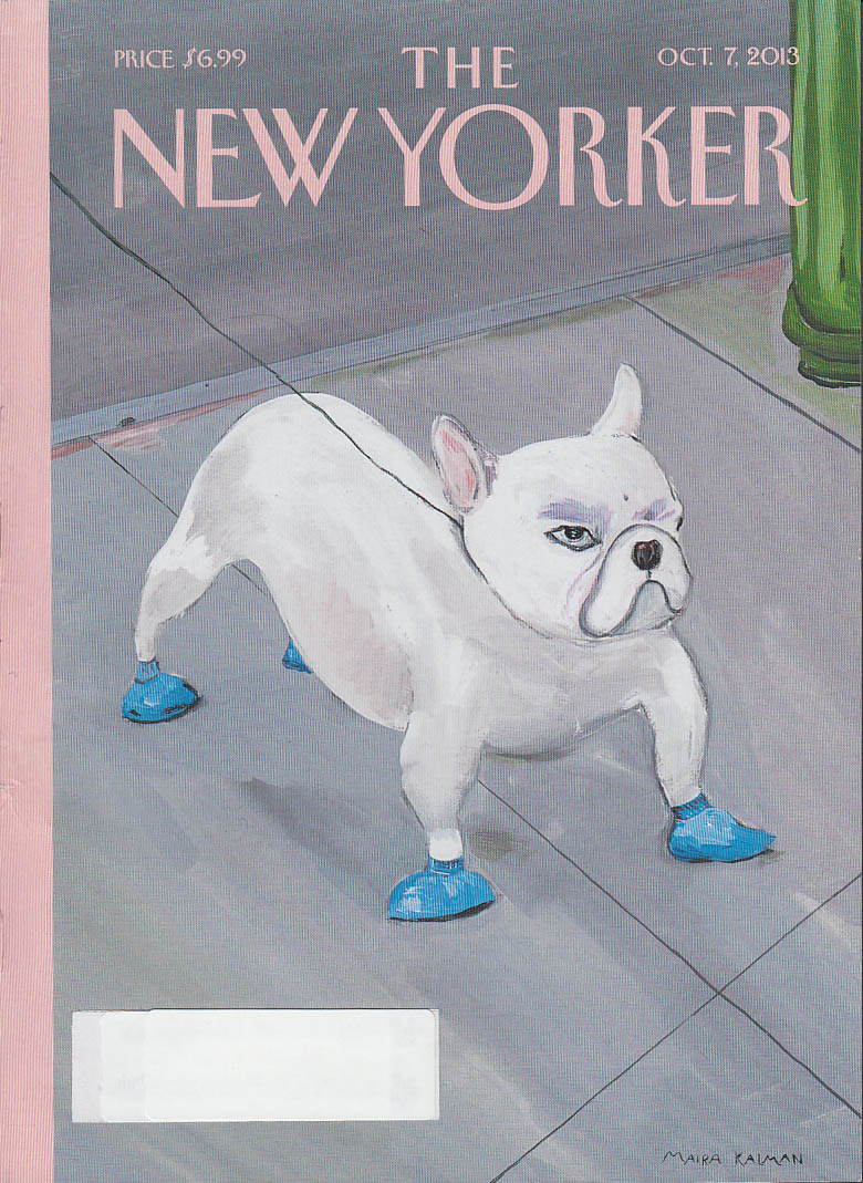 New Yorker cover 10/17 2013 Kalman: bulldog in little blue booties