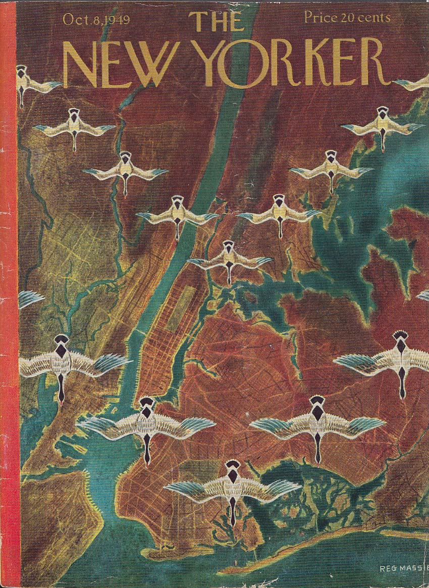 Image for New Yorker cover Massie geese over City 10/8 1949