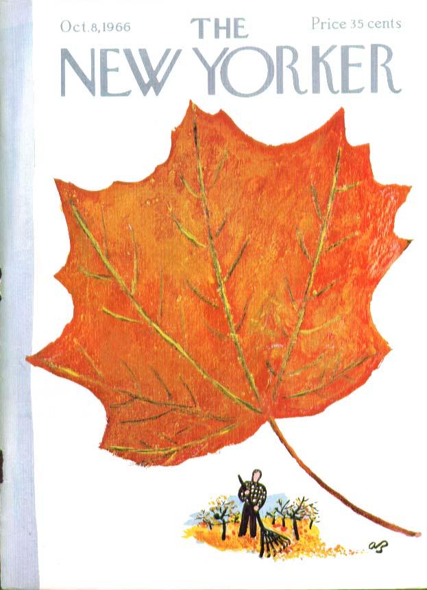 New Yorker cover Birnbaum raking autumn leaf 10/8 1966
