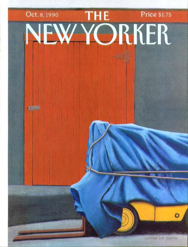 New Yorker cover Simpson tarp over forklift 10/8 1990