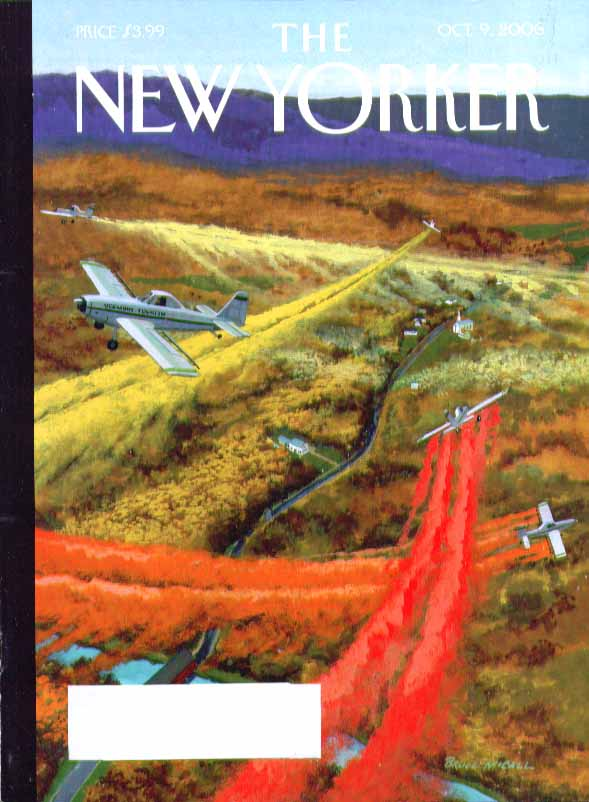 New Yorker cover Bruce McCall Vermont Tourism planes crop spray leaves 10/9 2006