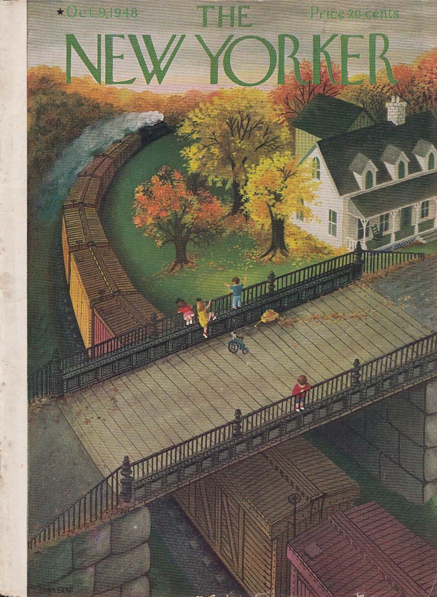 Image for New Yorker cover Eicke kids train autumn 10/9 1948