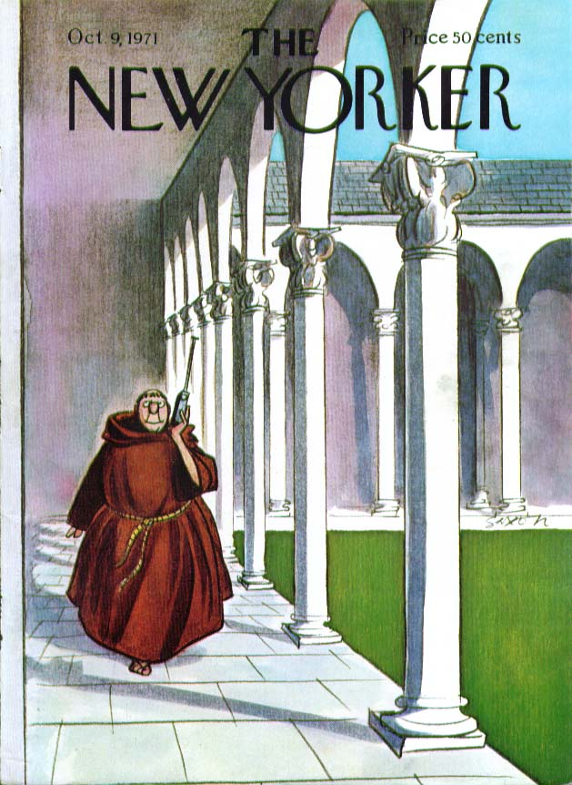 Image for New Yorker cover Saxon monk with radio 10/9 1971