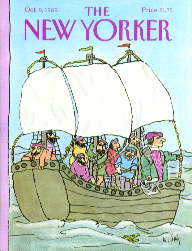 New Yorker cover Steig Christopher Columbus & his crew 10/9 1989