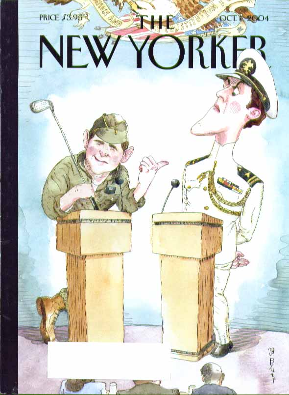New Yorker cover Barry Blitt George W Bush vs John Kerry debate 10/11 2004