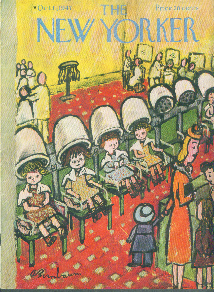 New Yorker cover Birnbaum beauty shop girls 10/11 1947