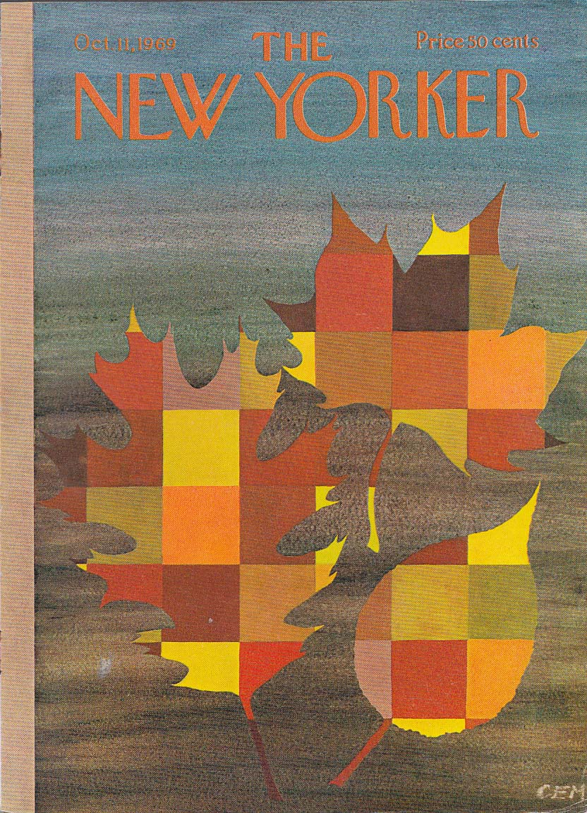 Image for New Yorker cover Martin autumn quilt leaves 10/11 1969
