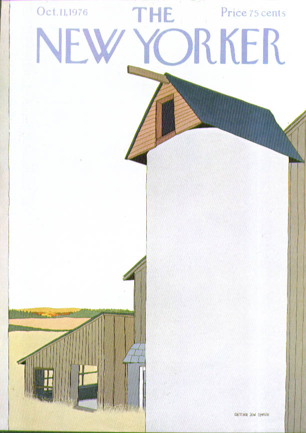 New Yorker cover Simpson silo on rural farm 10/11 1976