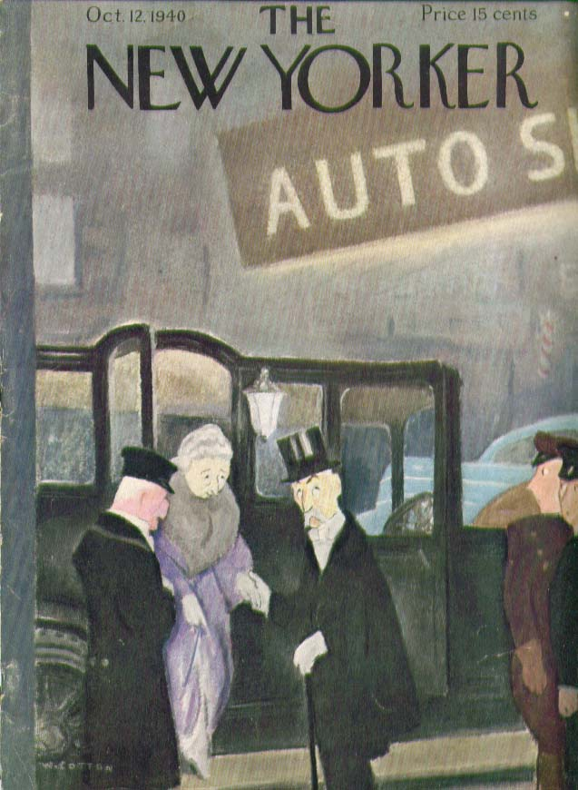 New Yorker cover Cotton elderly couple dismount from antique limo 10/12 1940