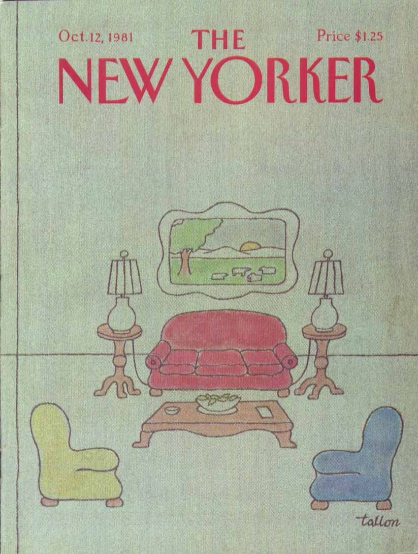 New Yorker cover Tallon overstuffed parlor 10/12 1981