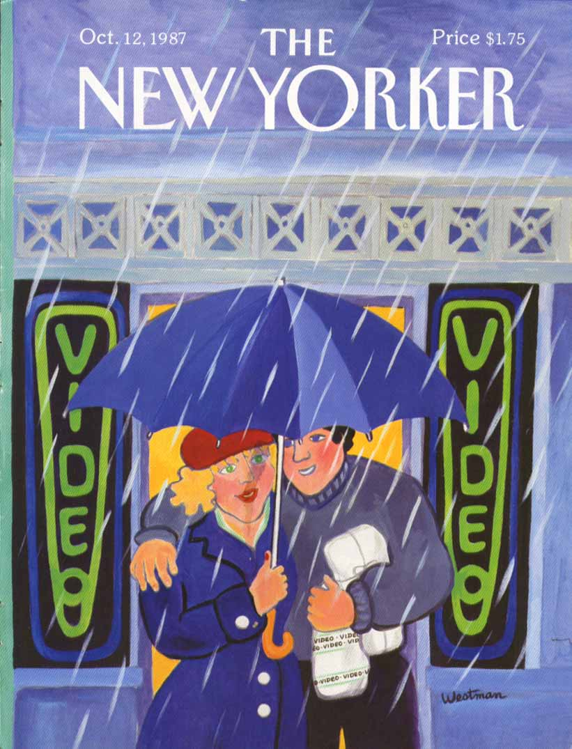 New Yorker cover Westman video renters rain 10/12 1987