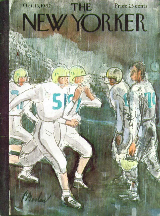 New Yorker cover Barlow football in the rain 10/13 1962