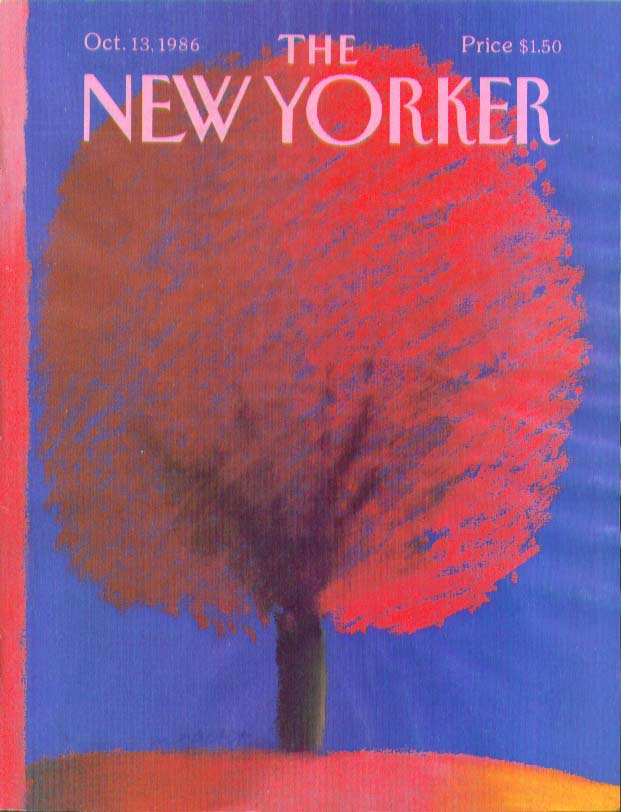 New Yorker cover Nacht pastel fall tree 10/13 1986