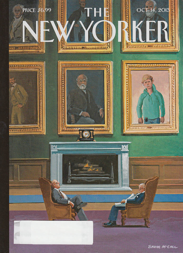 New Yorker cover 10/14 2013 McCall: Stuffy men's club hipster member portrait