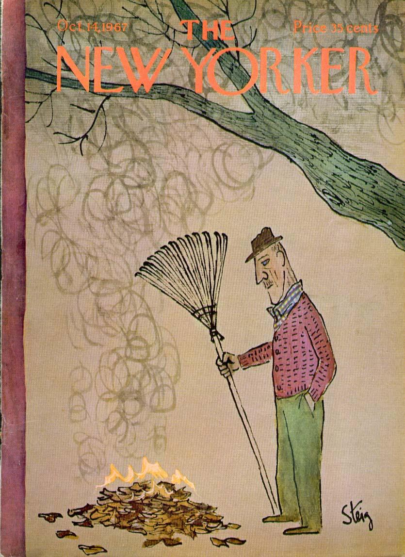 New Yorker cover Steig man burning leaves 10/14 1967
