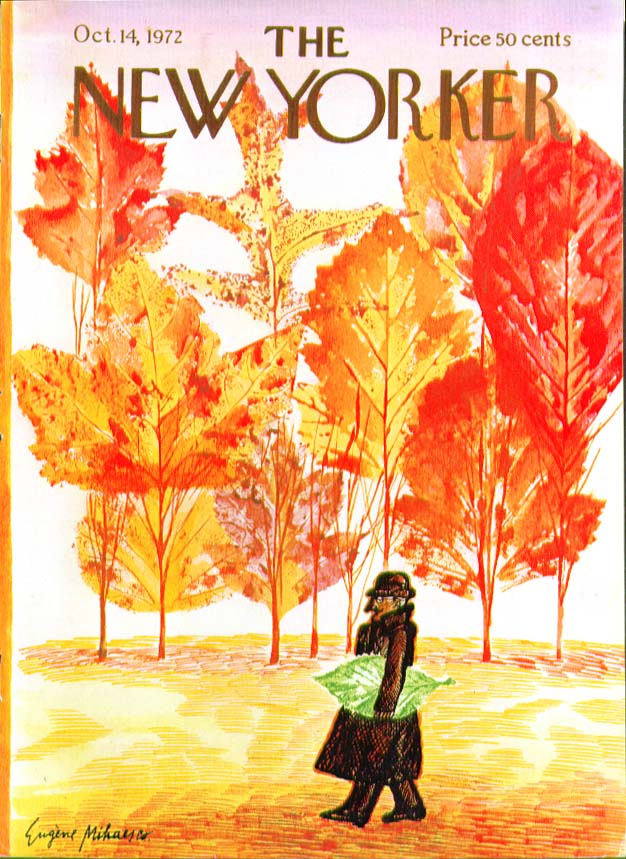 New Yorker cover Mihaesco man carries leaf 10/14 1972