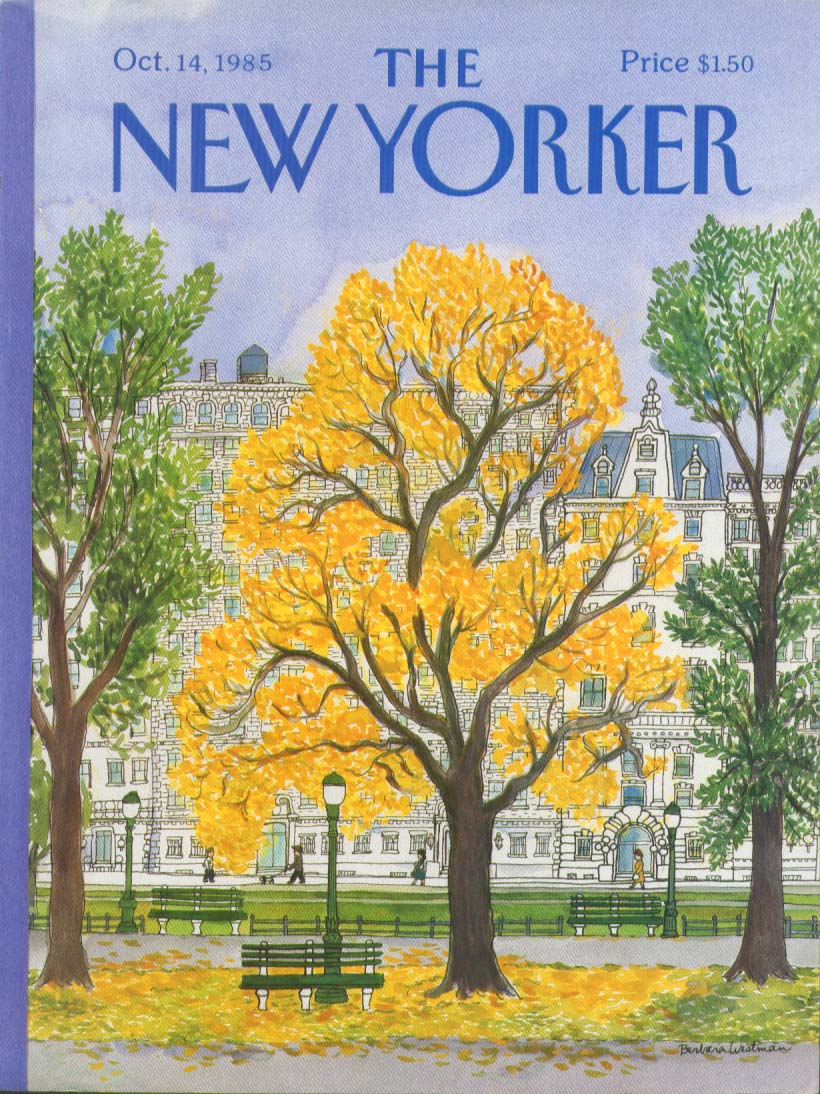 New Yorker cover Westman yellow leaves 10/14 1985