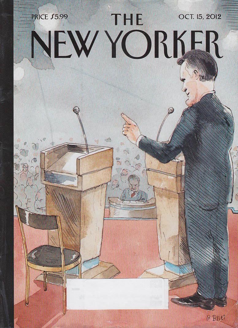 New Yorker cover Blitt 10/15 2012 Romney debates empty lectern on TV