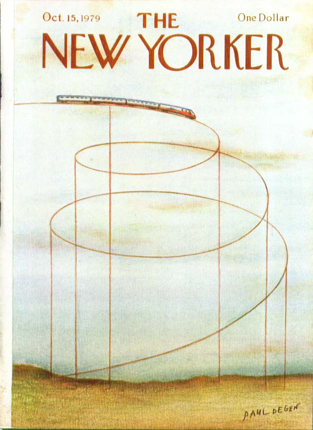 New Yorker cover Degen train spiral 10/15 1979