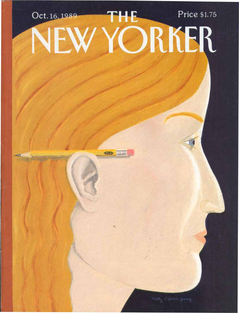 New Yorker cover Young #2 pencil blonde ear 10/16 1989