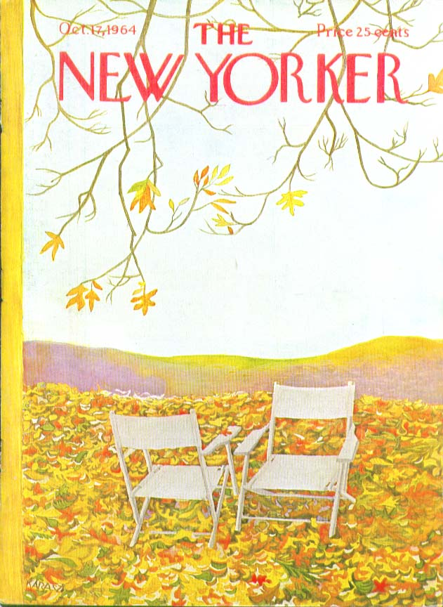 New Yorker cover Karasz autumn chairs 10/17 1964