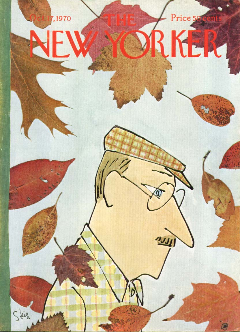 New Yorker cover Steig man in autumn leaves 10/17 1970