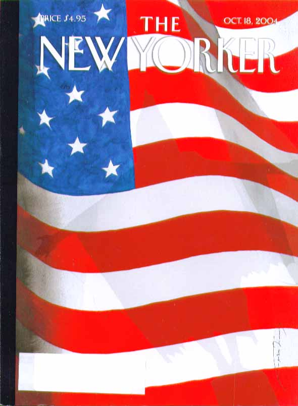 New Yorker cover Abu Ghraib Prisoner shadow on the U S Flag 10/18 2004