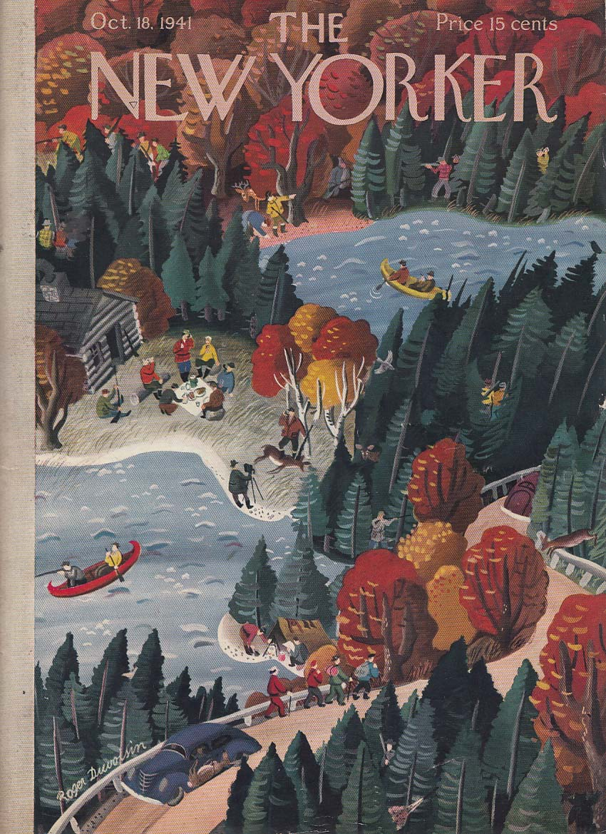New Yorker cover 10/18 1941 Duvoisin overhead view of fun in woods camp canoe +