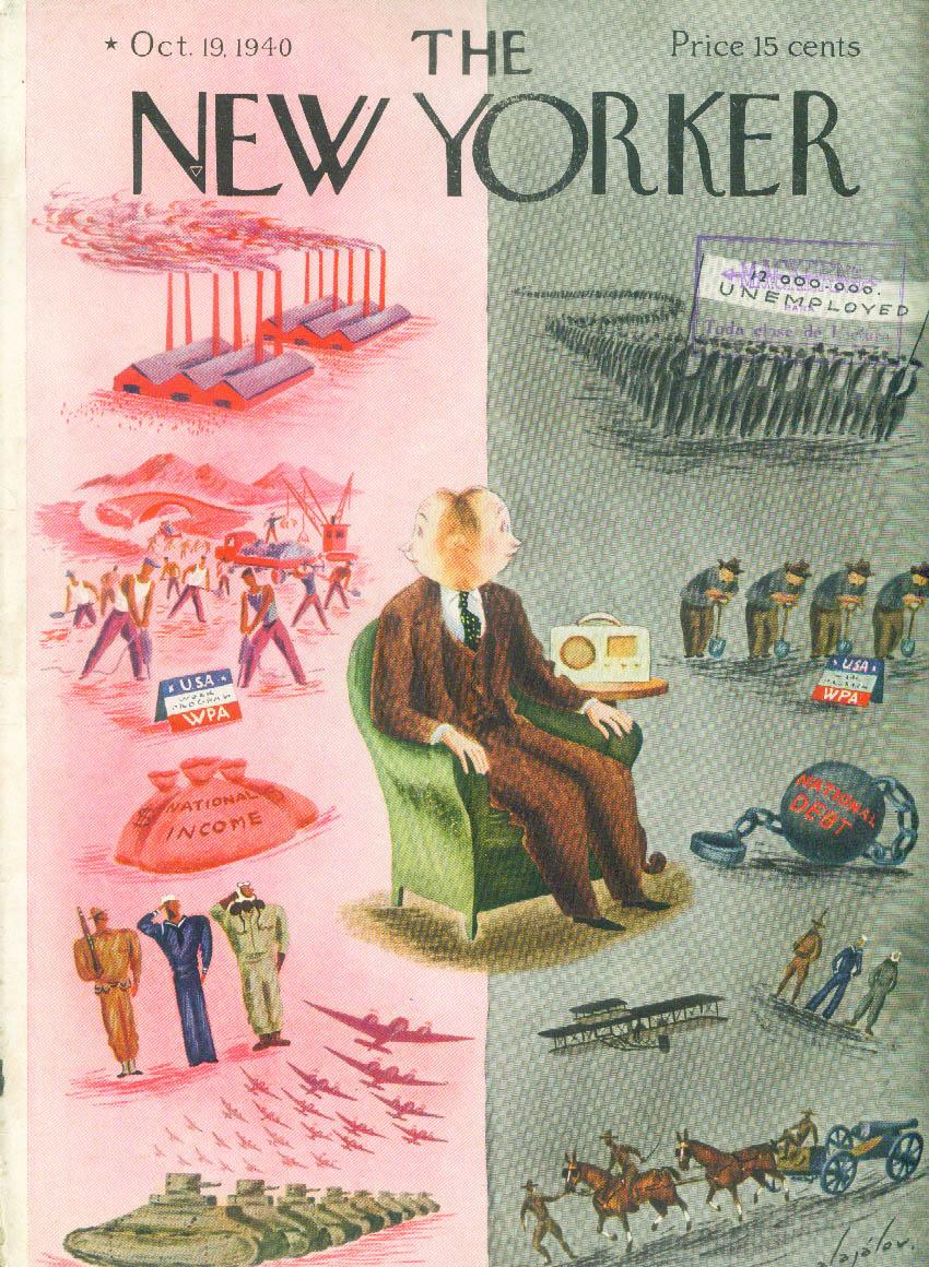 New Yorker cover Alajalov WPA war or peace? 10/19 1940