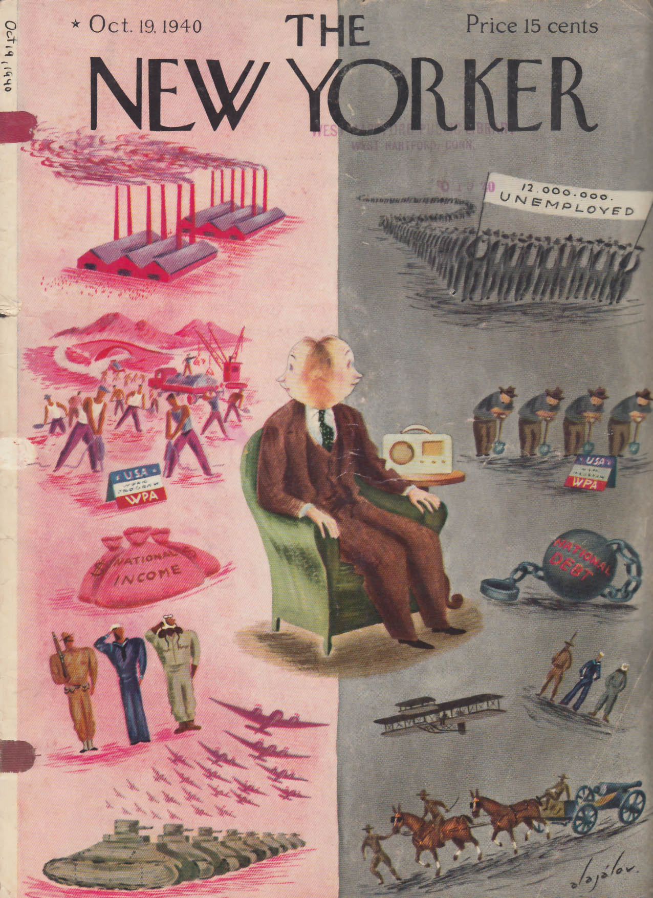 New Yorker cover Alajalov WPA war or peace? 10/19 1940