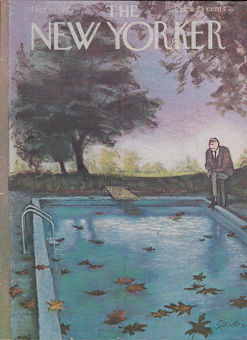 Image for New Yorker cover Saxon autumn leaves in pool 10/19 1963