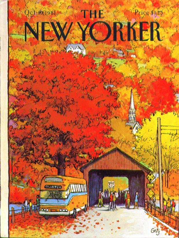 New Yorker cover Getz leafpeeper bus tour covered bridge fall foliage 10/19 1981