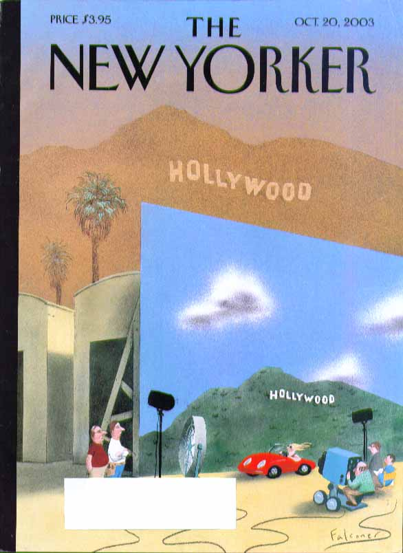 Image for New Yorker cover Falconer studio HOLLYWOOD sign vs real smoggy thing 10/20 2003