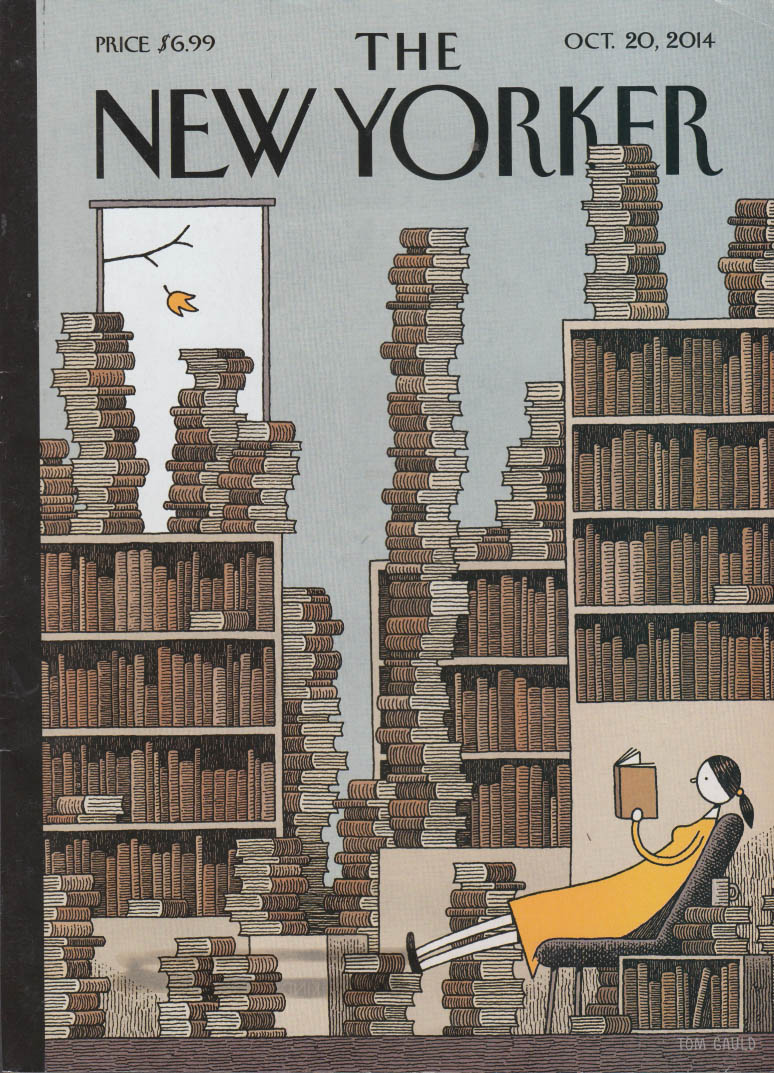 New Yorker cover 10/20 2014 Gauld: woman reads among stacks of books