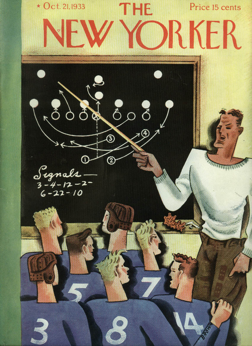 New Yorker cover Brown Football coach diagrams play on blackboard 10/21 1933