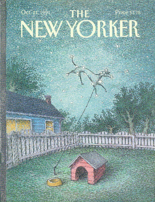 New Yorker cover O'Brien dog star on leash 10/21 1991