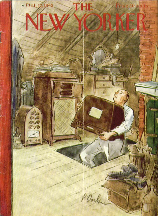 New Yorker cover Barlow radios in attic 10/22 1955